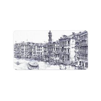 Venecia, Italia, en tinta Etiquetas De Dirección
