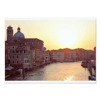 """Venecia, puesta del sol en el canal grande invitación 5"""" x 7"""""""