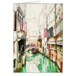Venecia - tarjeta estrecha del canal .........