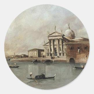 Venecia: Una vista de la iglesia de Francesco Etiquetas Redondas