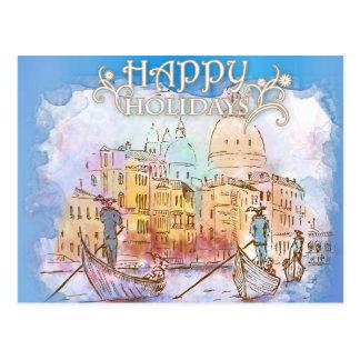Venecia watercolor illustration postcard