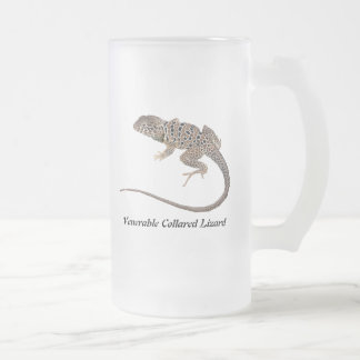Venerable Collared Lizard Frosted Glass Beer Mug