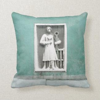 Venetian Balcony and Sculpture on Aqua Blue Green Pillow