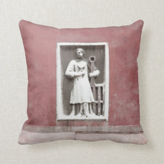 Venetian Balcony and Sculpture on Burgundy Red Pillow