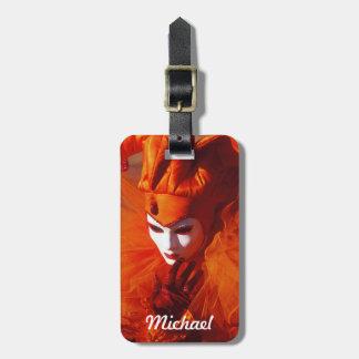 Venetian Carnival Character in Orange Costume Bag Tag