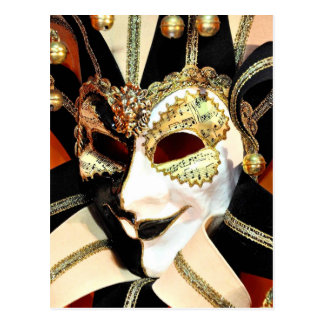 Venetian Carnival Jester Mask with Bells Postcard