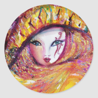 VENETIAN CARNIVAL MASK IN GOLD YELLOW CLASSIC ROUND STICKER