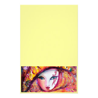 VENETIAN CARNIVAL MASK IN GOLD YELLOW STATIONERY