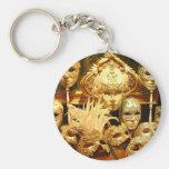 Venetian Carnival Masks Basic Round Button Keychain