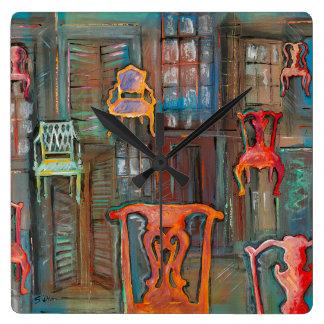 Venetian Chambers of Chairs Square Wallclock