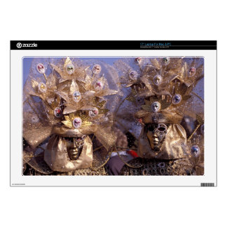 """Venetian Couple With Golden Carnival Costumes 17"""" Laptop Skins"""