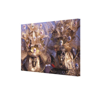 Venetian Couple With Golden Carnival Costumes Canvas Print