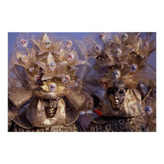 Venetian Couple With Golden Carnival Costumes Poster