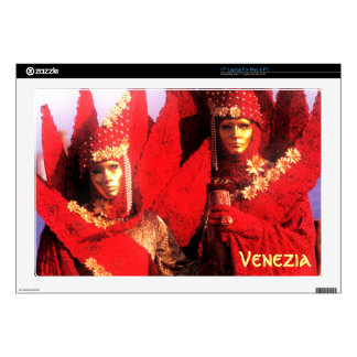 """Venetian Couple With Red Carnival Costumes 17"""" Laptop Skins"""