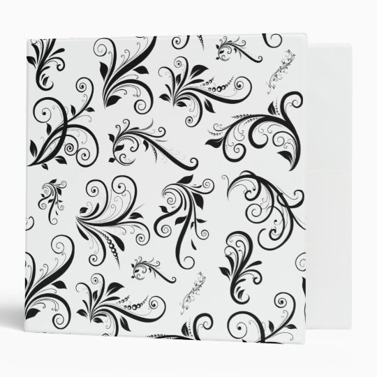 Venetian Damask, Damask Pattern - Black White Binder