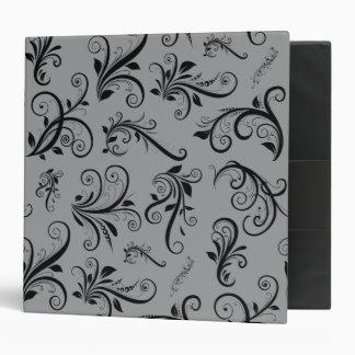 Venetian Damask, Damask Pattern - Gray Black Binder