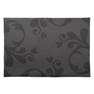 Venetian Damask, Damask Pattern - Gray Black Cloth Placemat