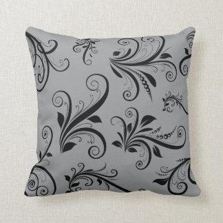 Venetian Damask, Damask Pattern - Gray Black Throw Pillow