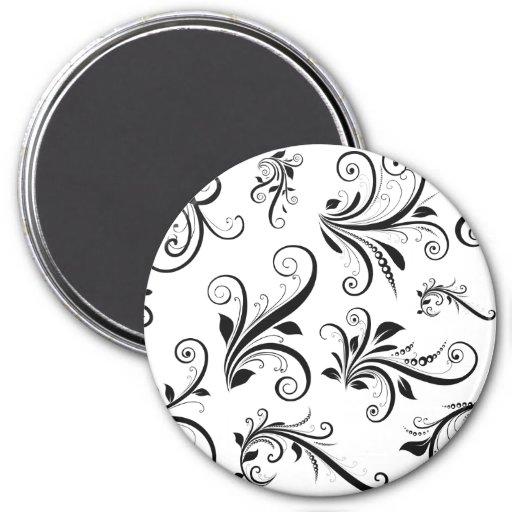 Venetian Damask, Ornaments, Swirls - Black White 3 Inch Round Magnet