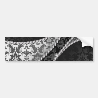 Venetian Damask, Ornaments, Swirls - Black White Bumper Sticker