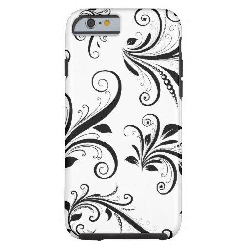 Venetian Damask, Ornaments, Swirls - Black White iPhone 6 Case
