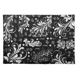 Venetian Damask, Ornaments, Swirls - Black White Cloth Placemat