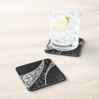 Venetian Damask, Ornaments, Swirls - Black White Drink Coaster