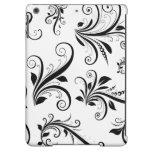 Venetian Damask, Ornaments, Swirls - Black White iPad Air Case