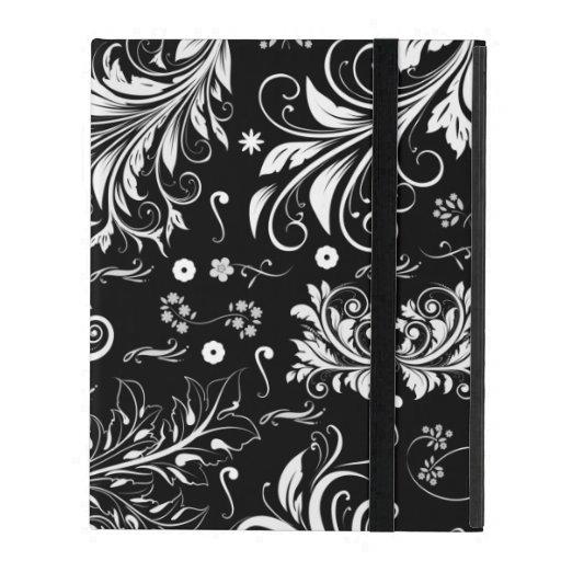 Venetian Damask, Ornaments, Swirls - Black White iPad Cover
