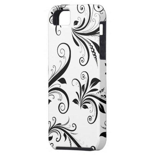 Venetian Damask, Ornaments, Swirls - Black White iPhone SE/5/5s Case