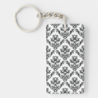 Venetian Damask, Ornaments, Swirls - Black White Rectangular Acrylic Keychains