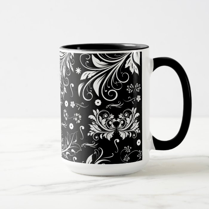 Venetian Damask, Ornaments, Swirls - Black White Mug
