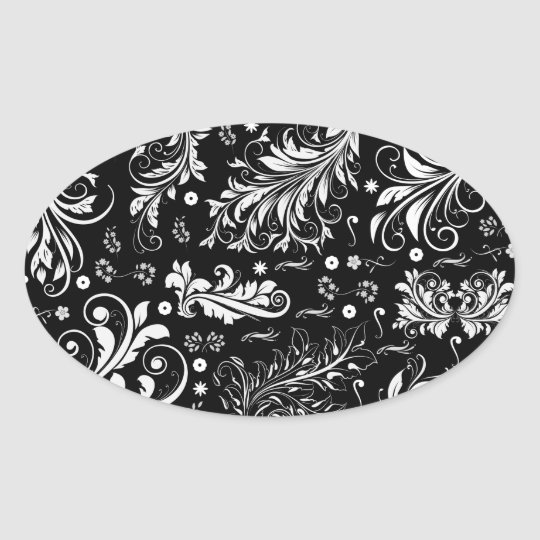 Venetian Damask, Ornaments, Swirls - Black White Oval Sticker