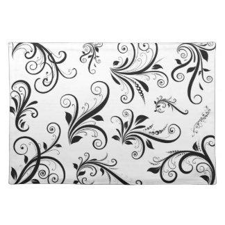 Venetian Damask, Ornaments, Swirls - Black White Placemat