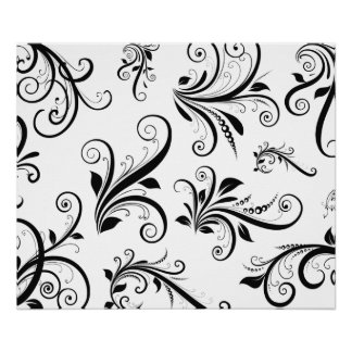Venetian Damask, Ornaments, Swirls - Black White Print
