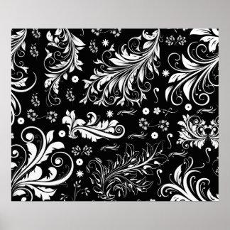 Venetian Damask, Ornaments, Swirls - Black White Posters