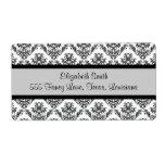 Venetian Damask, Ornaments, Swirls - Black White Shipping Label