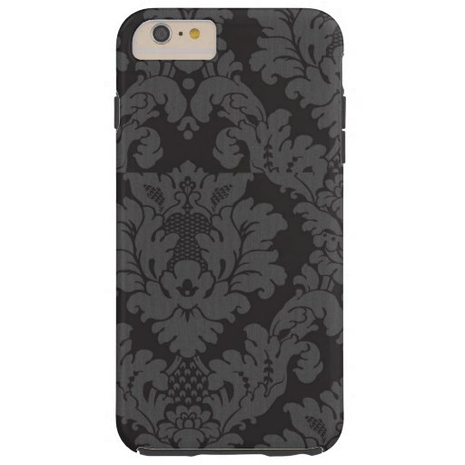 Venetian Damask, Ornaments, Swirls - Gray Black Tough iPhone 6 Plus Case