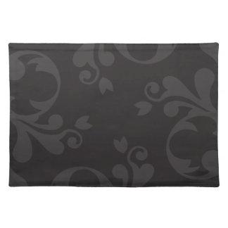 Venetian Damask, Ornaments, Swirls - Gray Black Cloth Placemat