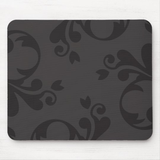 Venetian Damask, Ornaments, Swirls - Gray Black Mouse Pad