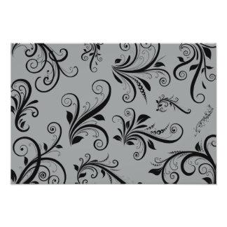 Venetian Damask Ornaments Swirls - Gray Black Photo Art