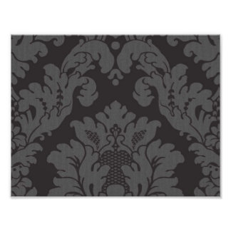 Venetian Damask Ornaments Swirls - Gray Black Art Photo