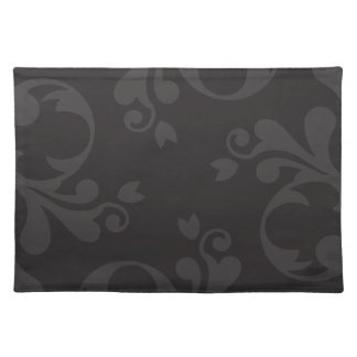 Venetian Damask Ornaments Swirls - Gray Black Placemats