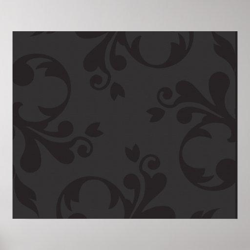 Venetian Damask, Ornaments, Swirls - Gray Black Poster