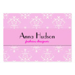 Venetian Damask, Ornaments, Swirls - Pink White Business Card Templates