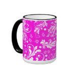 Venetian Damask, Ornaments, Swirls - Pink White Coffee Mug