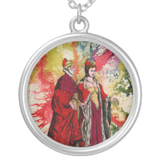 Venetian Doge and Dogeressa by Michael Moffa Round Pendant Necklace