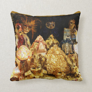 Venetian  fancy Jester Mardi Gras Masks Throw Pillow