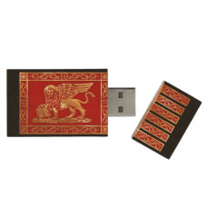 Venetian Flag Wood USB Flash Drive