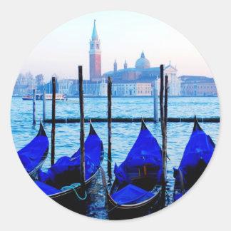 Venetian Gondolas Classic Round Sticker